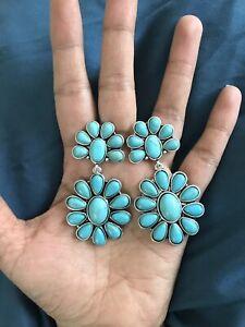 "2.5"" Long BIG Blue Turquoise Dangle Rhinestone Crystal Pageant Earrings"