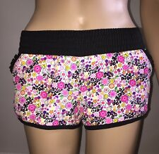 OP Fluorescent Floral Print XS Mini Shorts Hearts Stars Peace Sign Hot-Pants