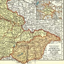 1940 Antique GERMANY And HUNGARY Map Europe Wall Art 7709