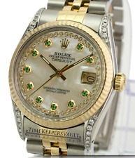 Rolex Mens Datejust 16013 Two-tone 36mm White MOP Diamond Dial Lugs  Watch
