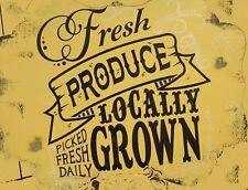 "TIN SIGN ""Fresh Local Produce Yellow"" Farm  Art Deco Garage Wall Decor"