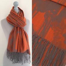 Large Orange Pashmina Scarf Floral Wrap Evening Shawl Reversible Cotton Big Long
