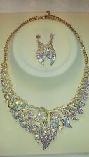 AB Diamante crystal Necklace & earrings set wedding prom new set G