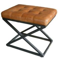 Brown Leather Stool / Footrest - Metal X Legs Frame - Cushioned Buttoned Seat