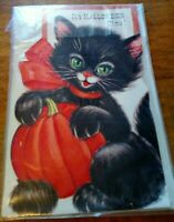 Vintage Stand Up Blank Halloween Greeting Card Black Cat Charm Craft 39 Cent WOW