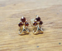 18k Yellow Gold Garnet Cluster Earrings