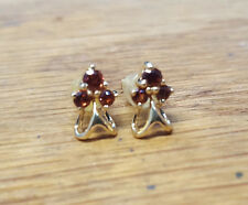 Garnet 18k Yellow Gold Cluster Style Earrings