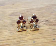 18k Yellow Gold Garnet Cluster Earrings