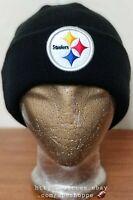 NFL Pittsburgh Steelers Football Black Logo New Era Knit Cuffed Beanie Cap Hat