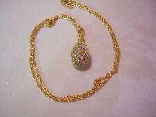 "JOAN RIVERS Fleur De Lis Crystal Egg Pendant With Gold-tone Chain 28"""