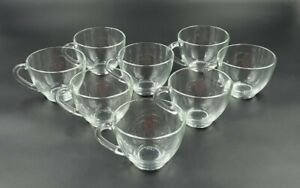 8 Vintage Arcoroc Classique Clear Coupe Glass Cup Coffee Mug Tea Cup Punch Glass