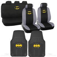 Batman Seat Covers & 2 PC Rubber Floor Mats for Car & SUV Auto Accessories
