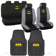 Batman Seat Covers & 2 PC Rubber Floor Mats for Car & SUV Auto Accessories