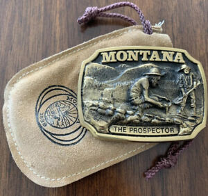 Montana Solid Brass belt buckle THE PROSPECTOR 1979 Collector edition EXCELLENT