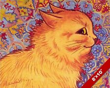 CUTE ORANGE KITTEN CAT SIDE PORTRAIT LOUIS WAIN PAINTING ART REAL CANVAS PRINT