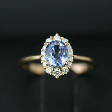 3.05Ct Oval Cut Diamond Blue Sapphire Engagement Ring 14K Yellow Gold Over