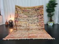 "Handmade Moroccan Vintage Boujad Rug 4'7""x6'2"" Abstract Berber Colorful Wool Rug"