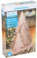 Sapin de Noël 35x21cm en Bois Avec Éclairage LED Grundig