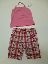 Childrens Place Girls 3T Pink Tank Top Shirt & Plaid Shorts Outfit New