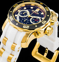 Invicta 48mm Men's Pro Diver Scuba Chronograph Gold IP Stainless Steel PU Watch