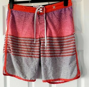 HURLEY Phantom Pink Grey Red Designer Beach Shorts Size 32