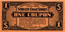 A neat six piece set of (1930's) Schulte Cigar Stores' Coupons - Used