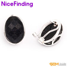 Fashion Oval Stone Omega Back Stud Earrings Silver Plated Decorate Women Jewelry