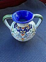 Ancien pot-vase-broc en faïence de Desvres-Décor Rouen-fait main -milieu XXème