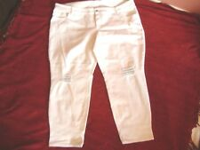 Womens Old Navy White Distressed Curvy Profile Mid Rise Jeans Size 24 Plus EUC