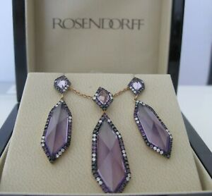 $14,750Amazing Rosendorff Amethyst Diamonds 18k rose gold Earrings&Necklace Set.