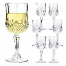 VINTAGE CLEAR CRYSTAL EFFECT PLASTIC GLASSES DRINKING PICNIC GARDEN ACRYLIC