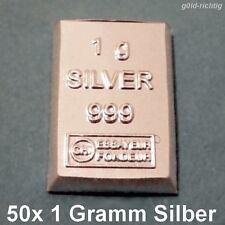 50 x 1 Gramm Silberbarren - (1g Silber ESG Valcambi 999 Feinsilber 50g Barren)