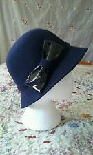 M&S navy and patent black bow downton hat