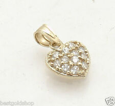 Prong Set Pave Set CZ Heart Charm Pendant Clear Zircon Real 10K Yellow Gold