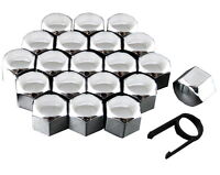 Set 20 17mm Chrome Car Caps Bolts Covers Wheel Nuts For Nissan Qashqai