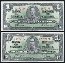 (2) CONSECUTIVE BC-21c 1937 $1 BANK OF CANADA BANKNOTES GEM UNCIRCULATED