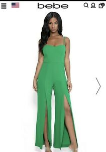 bebe Women's Jumpsuit Green.        Size Small. 100% Authentic. NWT