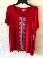 New Style & Co Woman's Embroidered Knit Tee Top. Red  Plus Size. L4