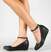 Women's Black Ballet Flat Mary Jane Ankle Strap Hidden Low Med Wedge Heel Shoes