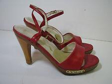 NINA Vtg 70's RED LEATHER WOOD PLATFORM SHOES High Heels DISCO FEVER! sz 7 1/2
