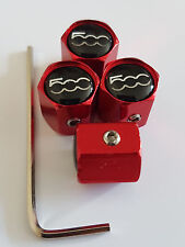 FIAT 500 RED ANTI THEFT DUST VALVE CAPS ALL MODELS RETAIL PACK