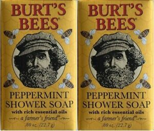 2 BURT'S BEES PEPPERMINT SHOWER BAR SOAP TRAVEL SIZE FREE SHIPPING USA RARE HTF
