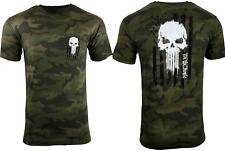 Howitzer Style Men's T-Shirt Skull Freedom Flag Black Camo Military Grunt
