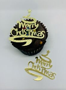 12 MERRY CHRISTMAS TREE GLITTER FOIL CUPCAKE TOPPERS SILVER GOLD CAKE TOPPER