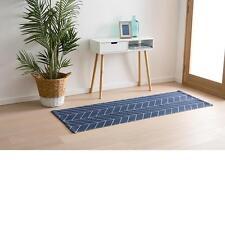 Blue Leaf Pattern Floor Hall Table Large Designer Runner Mat Modern Wedding