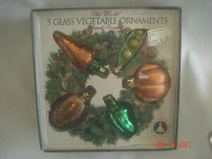 MINT BOXED 1991 SET 5 Figural GLASS VEGETABLE ORNAMENTS Hand-Painted CARROT PEAS