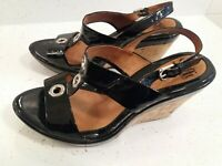 SOFFT Women's 8.5W Black Patent Leather Cork Wedge Slingback Heels