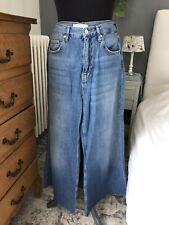 Jean Pantacourt Bas Large Pattes D'eph Bleu Clair Zara Woman Taille Haute 40