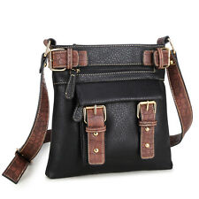 New Womens Cross Body Bags Faux Leather Messenger Bags Shoulder Bag Purse Black