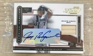 Ivan Rodriguez 2003 Playoff Piece of the Game Auto/bat Card SEALED #d 74/75